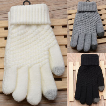 Fashion 4 Colors Free Size Men Women Winter Magic Touch Screen Gloves Knit Mittens For Mobile Clothing Accessorie Christmas Gift