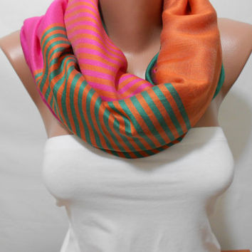 Cashmere Infinity Scarf Shawl, Multicolor Stripe Scarf, Circle Scarf, Gift For Mom, For Her For Women For Mother, ScarfClub
