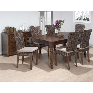 Jofran 733-66 Urban Lodge 8 Piece Rectangle Dining Room Set w/ Rattan Chairs