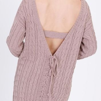 lace up back over sized cable knit sweater tunic