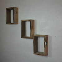 Shallow  set of shadow box wall shelves barnwood set of 3
