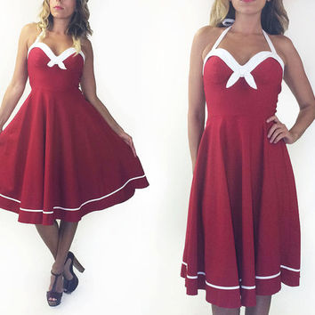 Vintage 90's Does 50's Red And White Pin Up Sailor Swing Rockabilly Dress || Size Medium to Large
