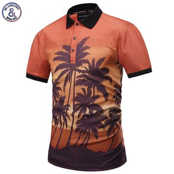 Mr.1991INC New Fashion Polo Shirts Men 3d Shirts Print Sunset Coconut Tree Summer Tops Designed POLO Shirts