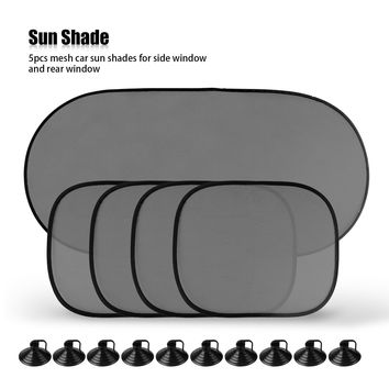 5Pcs Side Rear Window Mesh Sunshade Sun Shade Cover for Car UV Protection