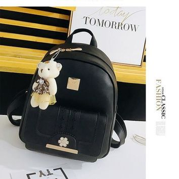 Student Backpack Children 2018 New Teenager  Bear Hanging Chain Flower Lock Metal Patch Designer Backpacks Women High Quality AT_49_3