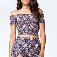 Kendall & Kylie Smocked Off-The-Shoulder Cropped Top at PacSun.com
