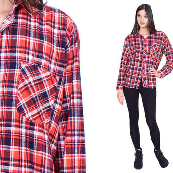 Soft Plaid Flannel Blouse Marine Blue Red White Front Pocket Vintage 1990s