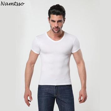 Men's MODAL Solid color underwear clothing close-fitting short sleeve Relax breathable strench O neck undershirts