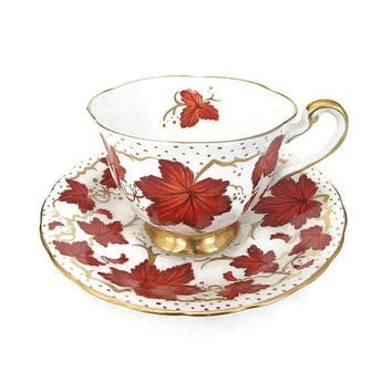Royal Chelsea, Tea Cup and Saucer, Autumn Leaves Pattern, Gold Gilding, Fine Bone China, Made in England, English Teacup