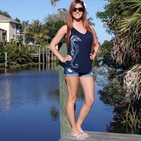 Shore Side Seahorse V-Neck Tank Top