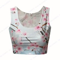 Running Vests Jogging Pink Peach Sakura  Tube Top Pink Cherry Blossom Sports Camisole Tank Top White Fitness Bustier Cropped Tops Ladies KO_11_1