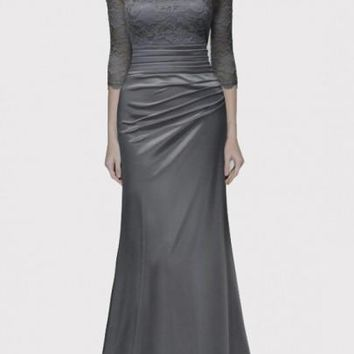 Grey Patchwork Lace Pleated Prom Evening Party Elegant Maxi Dress