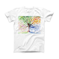 The WaterColor Vivid Tree ink-Fuzed Front Spot Graphic Unisex Soft-Fitted Tee Shirt