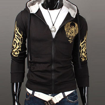 Black Printed Zippered Long Sleeves Hoodie