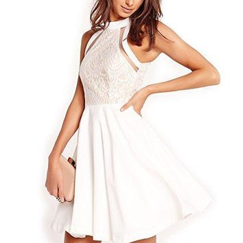 Dreaweet Women's Mesh Vintage Floral Lace Swing Halter Neck Sleeveless Skater Dress