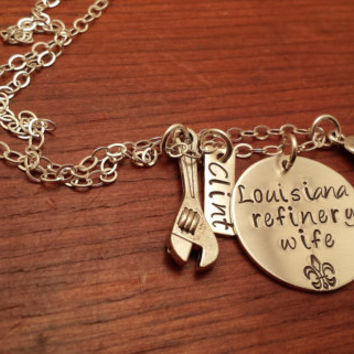 "Hand stamped personalized oilfield necklace ""Louisiana (can use any state) refinery wife"" with wrench and hard hat"