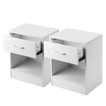 Set of 2 Density Board Night Stands/Side tables with Drawer - White