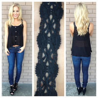 Black Lace Strap Button Up Tank