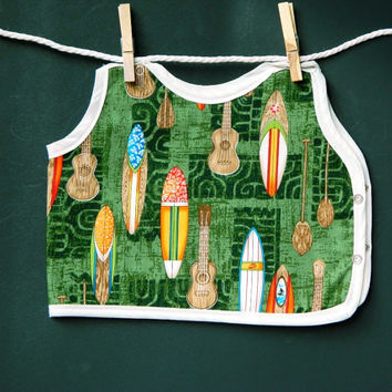 Guitar and Surfboard Bib Green Hawaiian Print Baby and Toddler Boy