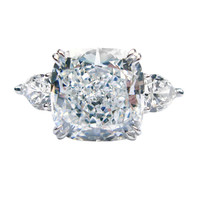 8.15ct GIA E VS2 Cushion and Pear Diamond Ring