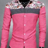 Turn-down Collar Floral Print Long Sleeve Shirt