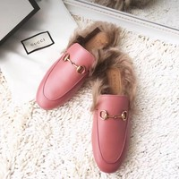 GUCCI Princetown Pink Leather Slipper