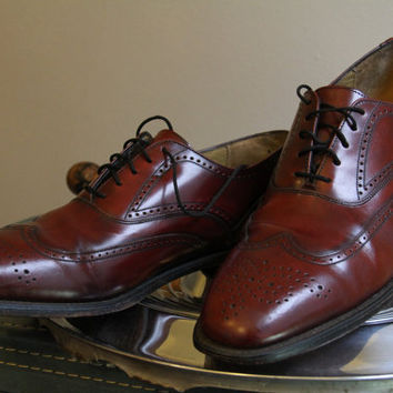 Vintage Leather Maroon Burgundy Johnston & Murphy Wingtip Mens Dress Shoes Size 11