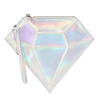 Silver Hologram Diamond Shaped Clutch Bag