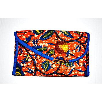 Orange And Blue Ethnic Fabric Print Clutch