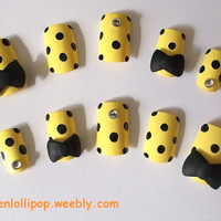 Japanese 3D Nail Art Set -Yellow with Black Polka Dots, Black Bows and Gemstones