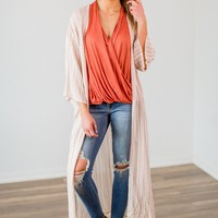 Fly By Striped Duster Cardigan