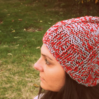 Red and grey beanie,handmade hat,women hat,winter accessories,knitting hat,slouchy beanie,