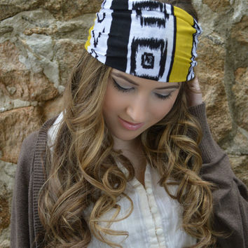 Tribal ethnic head band, Boho Hippie Head wrap, Blue diamond headband