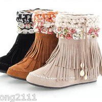 Hot Womens Shoes Faux Suede Flower Boho Fringe Hidden Wedge Heel Ankle Boots A55