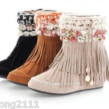 New Womens Boho Shoes Faux Suede Flower Fringe Hidden Heels Ankle Tassel Boots