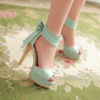 Fashion Stiletto High Heel Ankle Strap Blue PU Sandals     QJ140416412-4