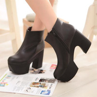 Womens Retro Block Chunky Heel Platform Ankle Boots Shoes Plus Size Black White