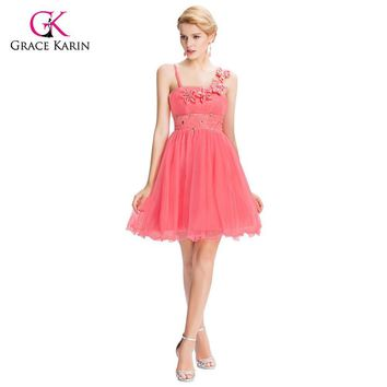 Beautiful Pink Bridesmaid Dresses Grace Karin 2017 Flower Empire cheap Short Wedding Junior bridemaids dress under 50 GK40
