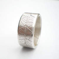 Silver Leaf Wide Ring