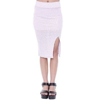 S7928 Rib Knit Knee Skirt Junior's Clothing