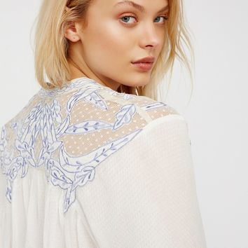 Free People Tulips Embroidered Buttondown
