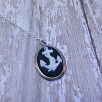 Black and White Anchor Cameo Necklace - Silver, Chain, Nautical, Sailor, Rockabilly