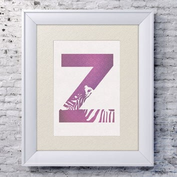 5x7 Alphabet Print 'Z is for Zebra' - Animal Name Art - Zebra Baby Art - Baby Alphabet Print - Letter Z - Zoo Animal Print - Zebra Wall Art