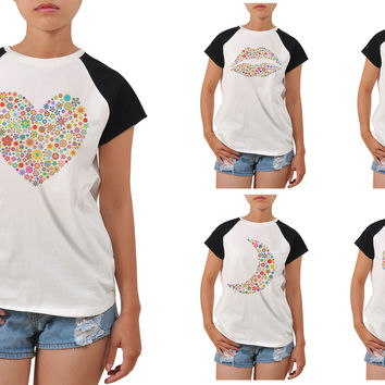 Women Multicolored Icons Printed T-shirt WTS_04