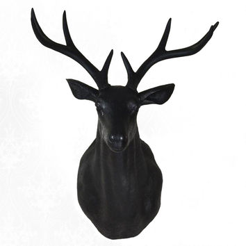 Large Size Plastic Deer Head Wall Hanging Decoration black