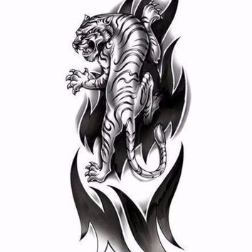 Large Arm Tiger Tattoo in Black