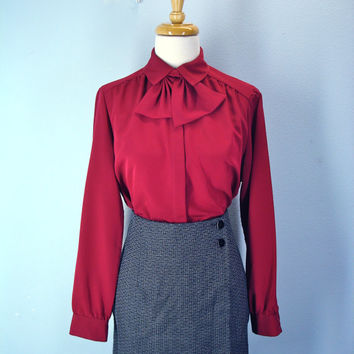 70s dark red maroon BLOUSE detachable collar ascot secretary silky shirt