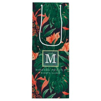 Elegant Tropical Floral Modern Gold Frame Monogram Wine Gift Bag