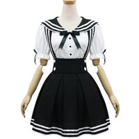 Japan School Uniform Cosplay Costume Anime Girl Maid Sailor School Lolita Dress (Black)