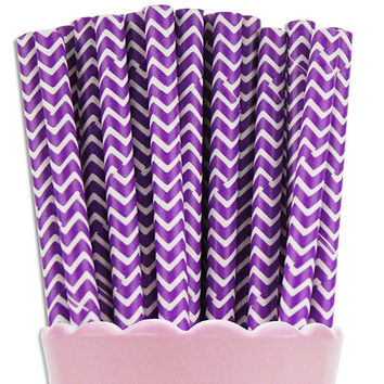 Purple Chevron Paper Straws